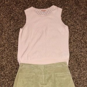 Brooks Brothers red fleece sleeveless knit top